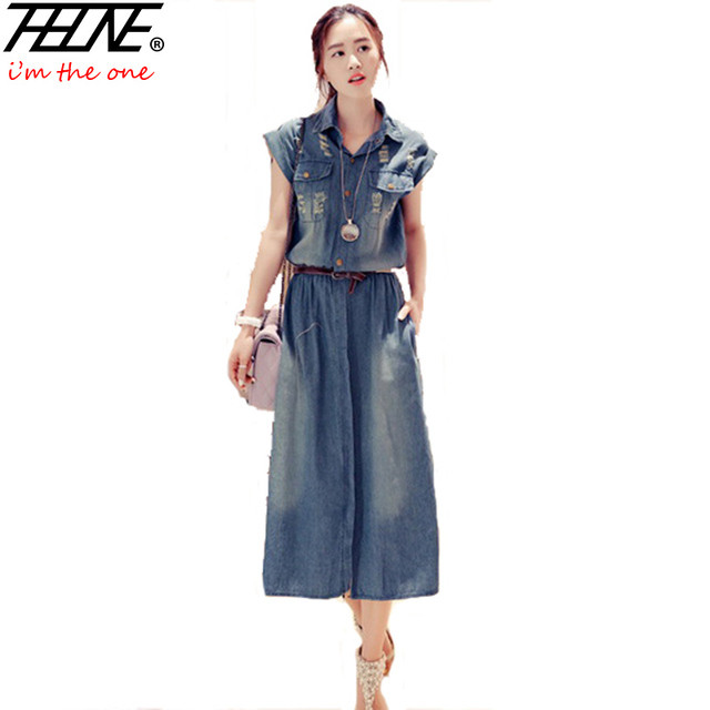 49e2687a05e2 2016 Robe Longue Femme Denim Dress Jeans Long Ripped Holes Casual Plus Size  3XL Summer Dresses