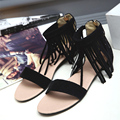 New arrivals women shoes Retro style Gladiator flats sandals fashion Tassel Solid Cover Heel Rome flats sandals summer shoes