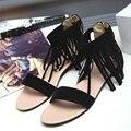 Novas chegadas mulheres sapatos estilo Retro flats Gladiador sandálias da moda Borla Capa Sólidos Roma apartamentos sandálias de Salto sapatos de verão