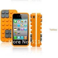 кирпич блок резина силикон кожи мягкий чехол для яблоко, iPhone 4 4 г 4S и бесплатная доставка 8309