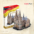 Cubicfun 3D Puzzle DIY Cologne Cathedral Paperboard Model, Architectural Features Cathedral Puzzle 3D Models, Kids Toys