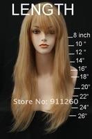"""бесплатная доставка! 24 """", # 27, красивая яки прямые, синтетические фронта парик, плотность 130"""
