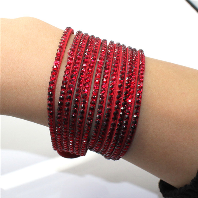 Fashion 6 Layer Wrap Bracelets Slake Leather Bracelets With Crystals Couple Jewelry womans bracelet 10