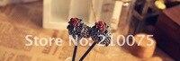 ура с милый цветок со стразами черный Spike для волос ретро древних hairware горячая распродажа женская разлива для волос ювелирные изделия бесплатная доставка подарок newe6072