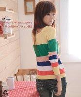 женщины пальто одежда куртка свитер вязаный свитер длинная рукавами полоска свитер