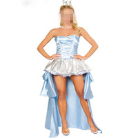New Adult Blue Cinderella Costume Women Greece Girl Rhodopis' Clothes Fairy Tales Princess Costumes One-piece Dress