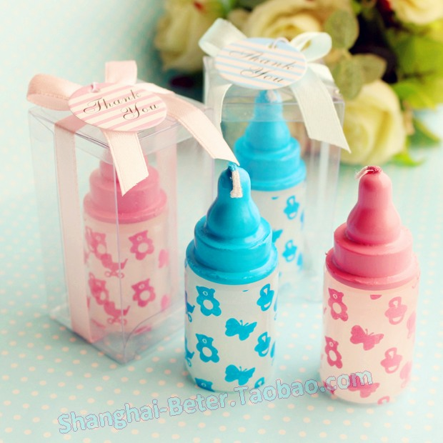Free Shipping 100pcs Blue Baby Bottle Candle Favors Lz043 Baby