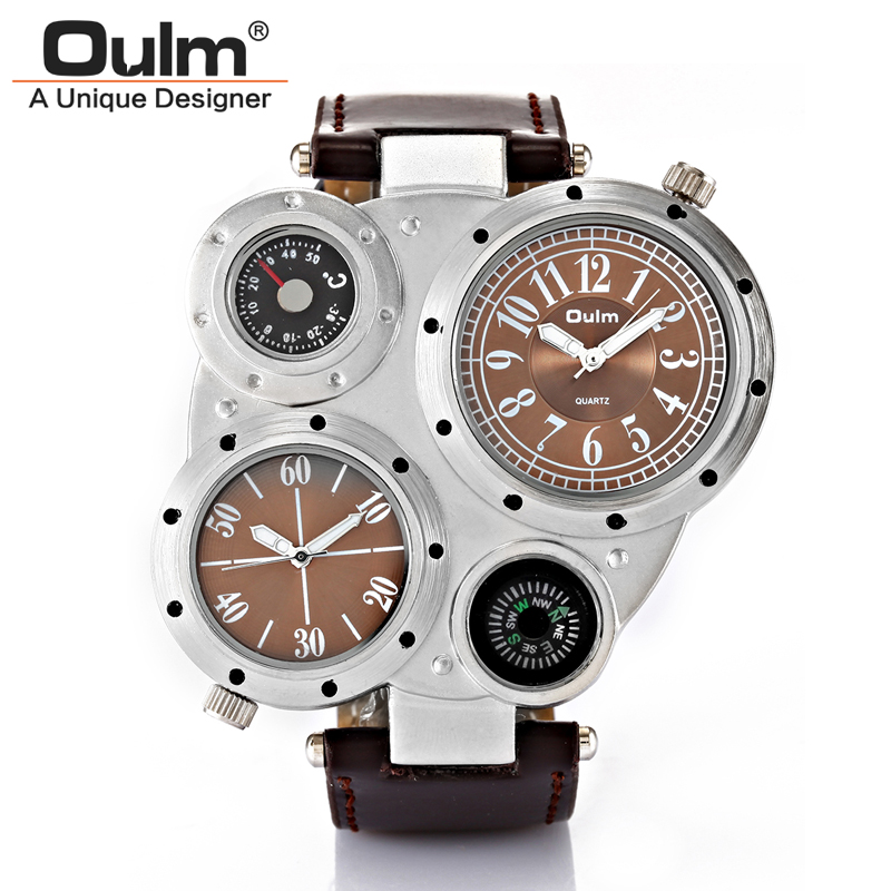OULM 2017 Military Quartz Watch Men's Deco Compass Stylish Army Leather Strap Sport Modern Double Movement Big Wrist Watches