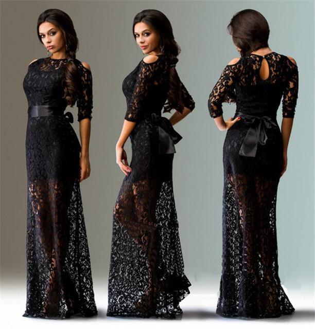 Grande hermoso sin tirantes sexy vestido de encaje elegante vestido largo con cinturón de verano/otoño nueva Europeo y Americano Caliente L-XXXL tamaño