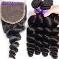 Ali Moda Brasileira Onda Solta 4 pacotes com Lace Encerramento Não Transformados cabelo Humano weave Brasileiro virgem do cabelo com fecho