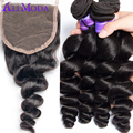 Ali Moda Brazilian Loose Wave 4 bundles with Lace Closure Unprocessed Human hair weave Brazilian virgin hair with closure