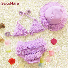 SexeMara Girls Swimwears Cute Children Swimsuit Bathing Suit 2017 Brand New Kawaii Swimwear With Hat Lace Baby Kids Bikini