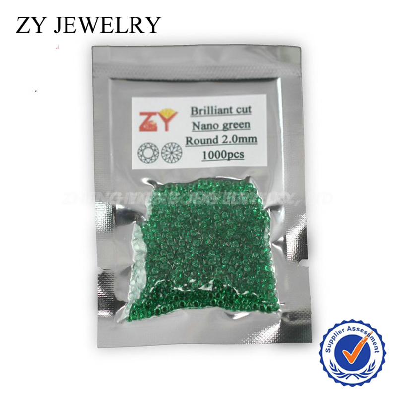 1000pcs/lot 2.0mm 5A quality round brilliant cut nano green synthetic stone beads