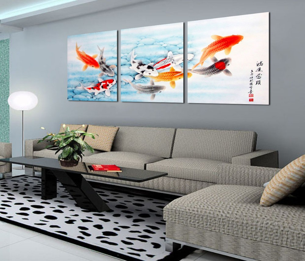 Modern Wall Paintings Living Room Aliexpresscom Buy 3 Piece Koi Fish Wall Art Chinese Painting
