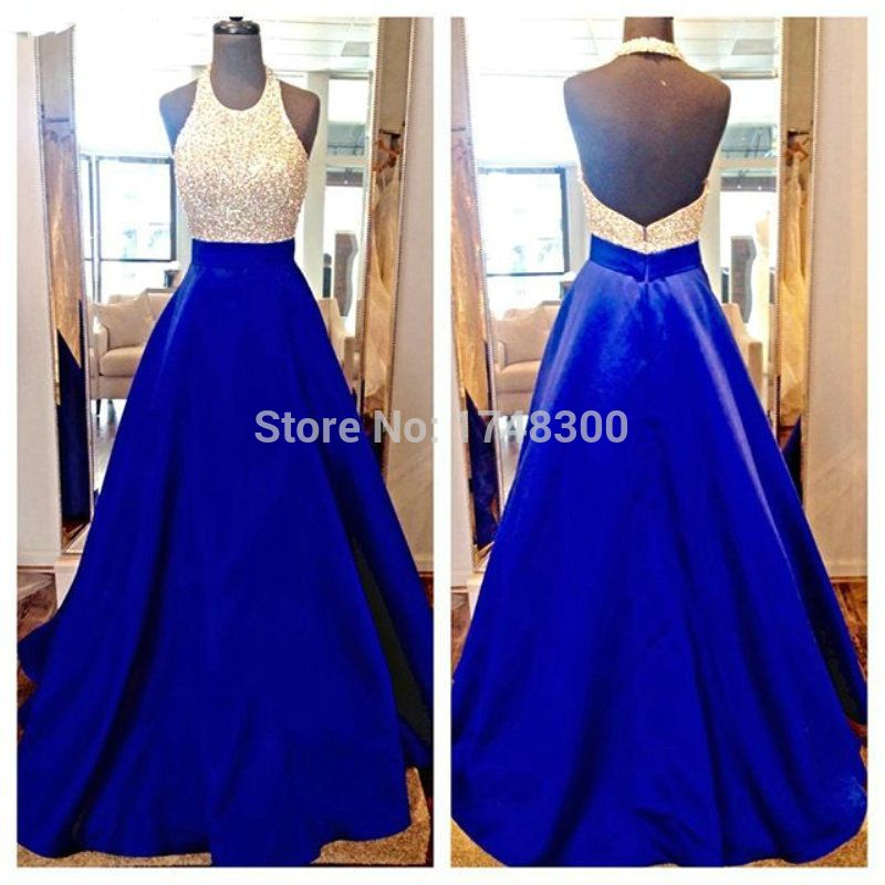 ef1accb5a55c 2016 New Arrival Backless Halter Top Gold Crystal Women Prom Dresses  Elegant Satin Long Sparkle Evening Dress Vestido De Noche-in Prom Dresses  from Weddings ...