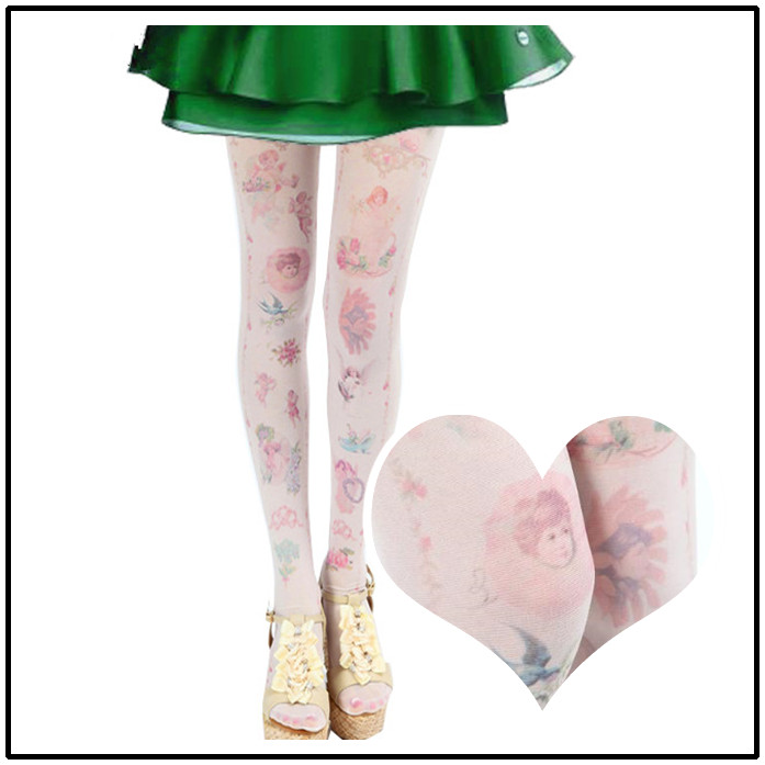 2017 summer spring girls tights lolita harajuku japanese tight Tattoo print flower kawii women cute angel Pantyhoses