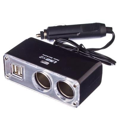 NIEUWE GALAXY 12 V 3 Way Auto Sigaret Splitter Aansteker Adapter 12 V met USB Autolader Gratis verzending 768 273 - 2