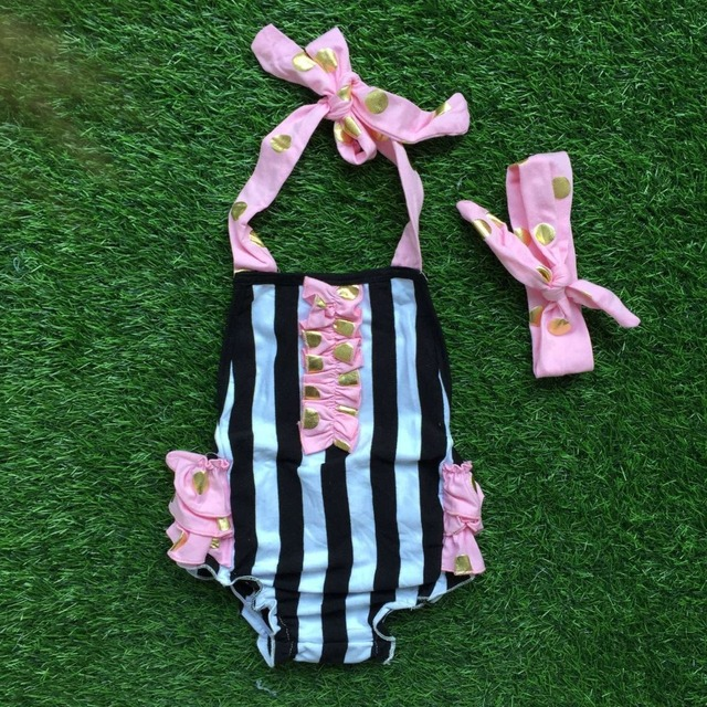 2016 новые девочки дети младенческой малыша дети пузырь ползунки розовый рябить черная полоса пузырь с оголовьем