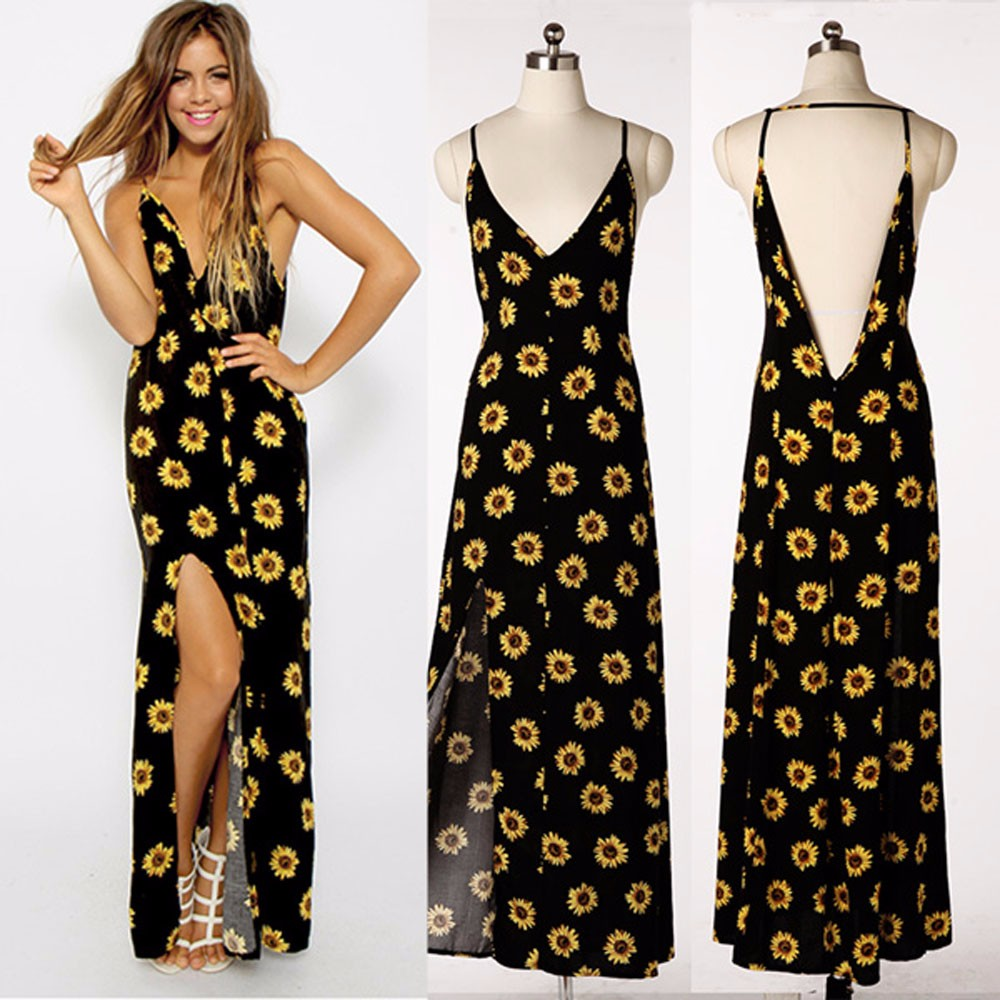 8bf65624350cb Summer Dress 2018 New Arrival Sunflower Print Long Dress Sexy V neck Maxi  Dresses Beach Female Vintage Dresses Vestidos -in Dresses from Women's  Clothing ...