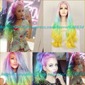 Long Colorful Wigs Mermaid With Pastel Rainbow Hair Lace Front Wig Heat Resistant Free Parting 180%Density Super Wavy Ombre Wig