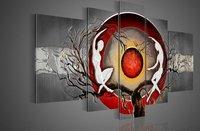 ручная роспись стены искусства серебро большое дерево красное солнце танец украшение стены абстрактный пейзаж маслом на холсте 5 шт./компл. оформлена