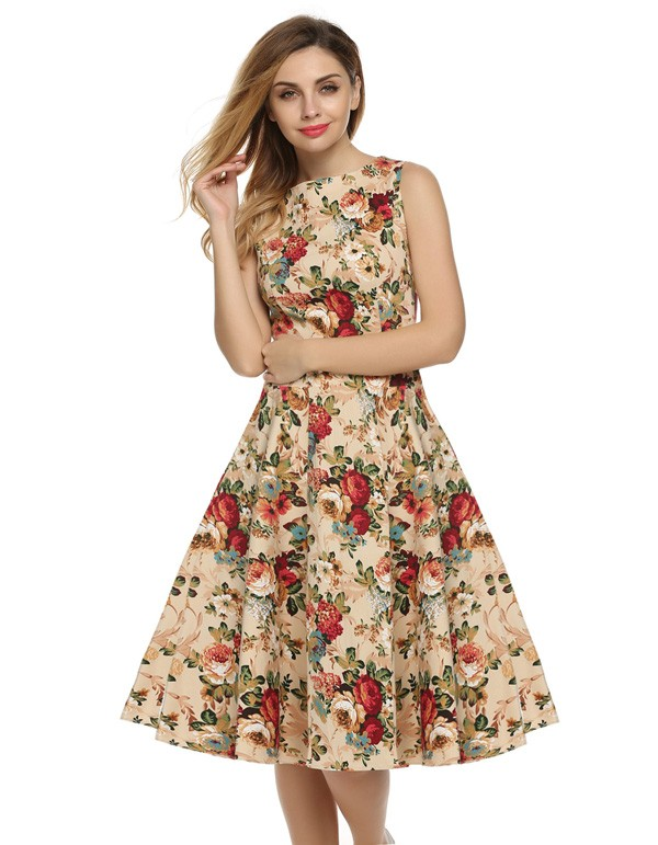 ACEVOG Women Dress Retro Vintage 1950s 60s Rockabilly Floral Swing Summer Dresses Elegant Bow-knot Tunic Vestidos Robe Oversize 11