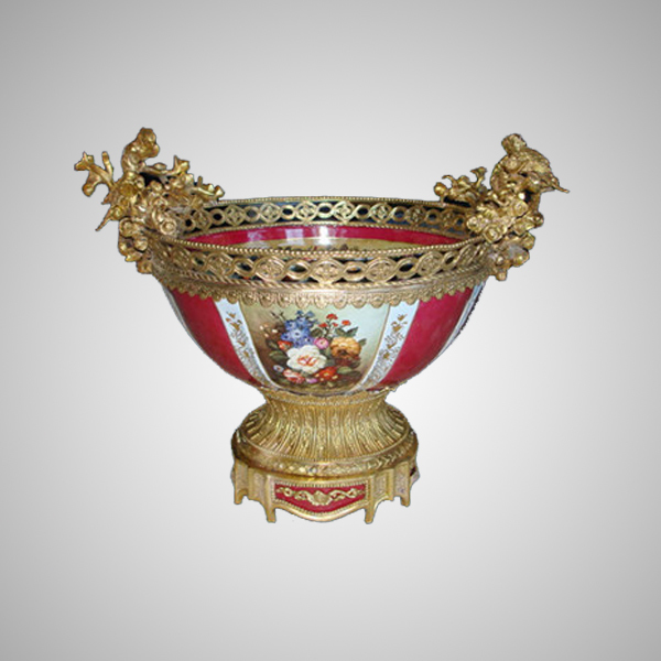 Round Mouth Gold Inlay Red Ceramic Compote Lovely Parrot Decorative Fruit Bowl