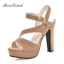 Meotina Femmes Chaussures Sandales D'été Plate-Forme Sandales Gladiateur Talons hauts Découpe Bureau Dame Sandales Abricot Noir Rouge Taille 42 43