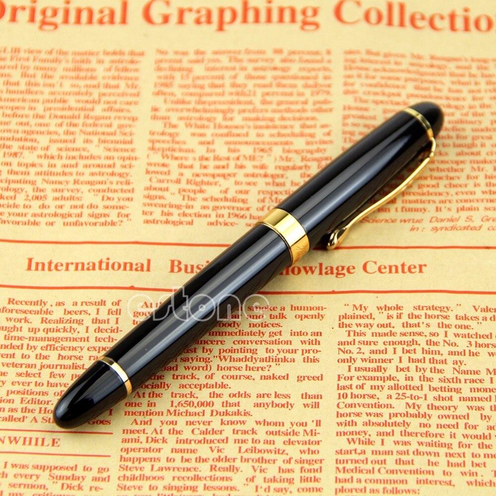 Jinhao X450 pen Black Medium Nib Gold Trim Fountain Pen Nice Gift
