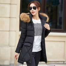 2016 New Women Winter Coats Big Fur Collar Hooded Padded Coat Big Yards Thicken Wadded Jacket Slim Long Outerwear Parka A1950