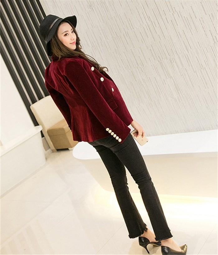 2016 New Spring Fashion Women Midnight Navy Slim Velvet Blazer Jacket Double Breasted simple Lady Blazers (11)