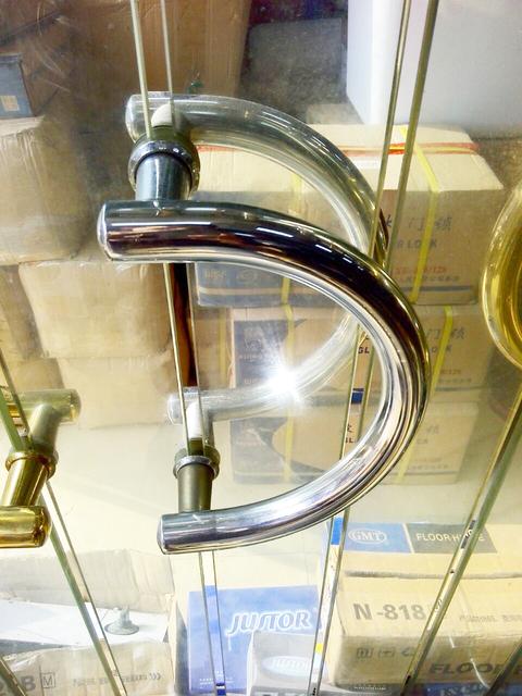 DLS-23 Semi-circular de vidro maçanetas de aço inoxidável lidar com grande alça semi-circular tamanho 23 cm