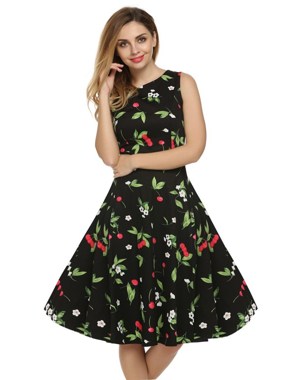 ACEVOG Women Dress Retro Vintage 1950s 60s Rockabilly Floral Swing Summer Dresses Elegant Bow-knot Tunic Vestidos Robe Oversize 14