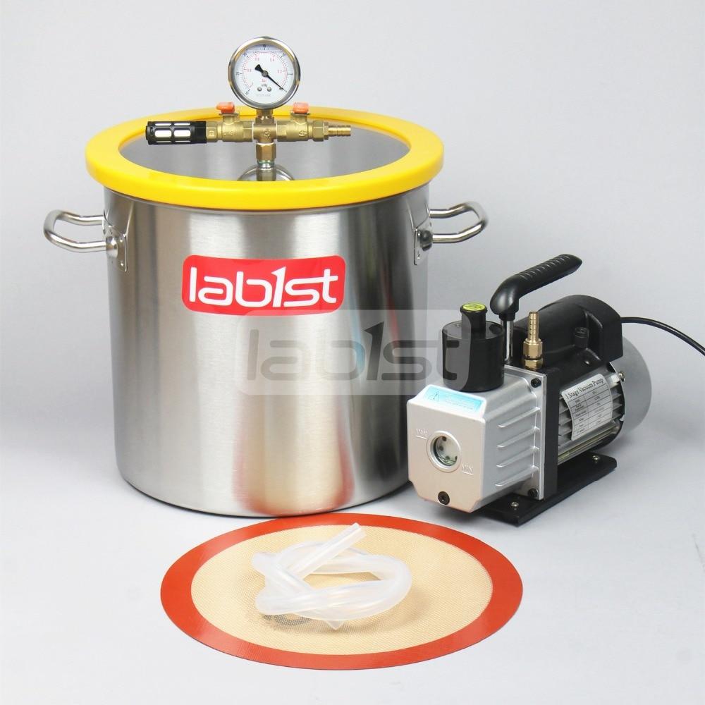 5,5 галл.(21 литр) комплект вакуумной камеры с 3 CFM(1.4L/s) 110 в вакуумный насос, 30 см* 30 см нержавеющая сталь вакуумной дегазации камеры