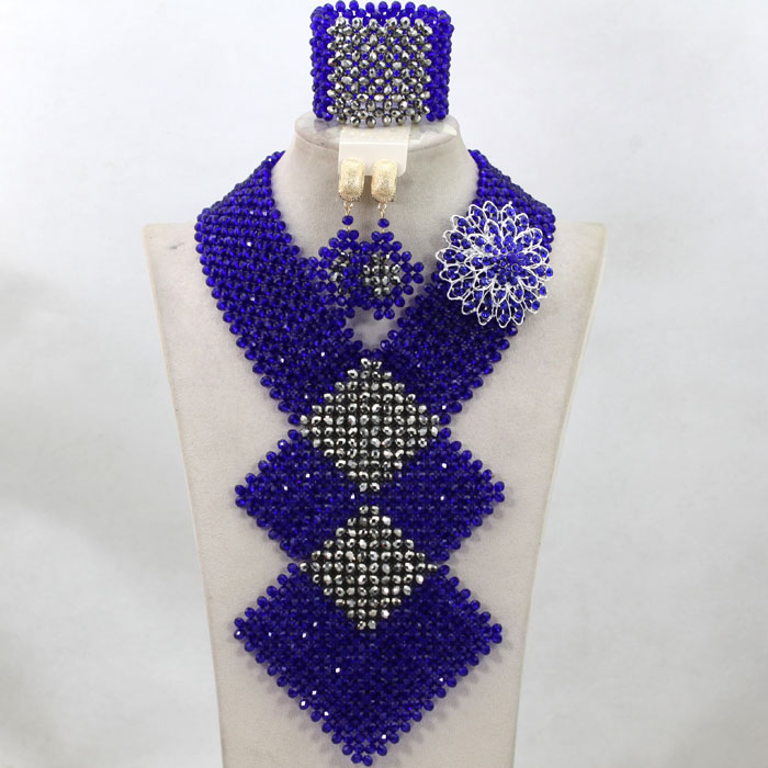 Royal Blue African Beads Jewelry Set Silver Crystal Beads Jewelry ...