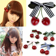 Fashion Cute Women Girl Lady Retro Vintage Pink Bow Cherry Hair Clip Hairpin