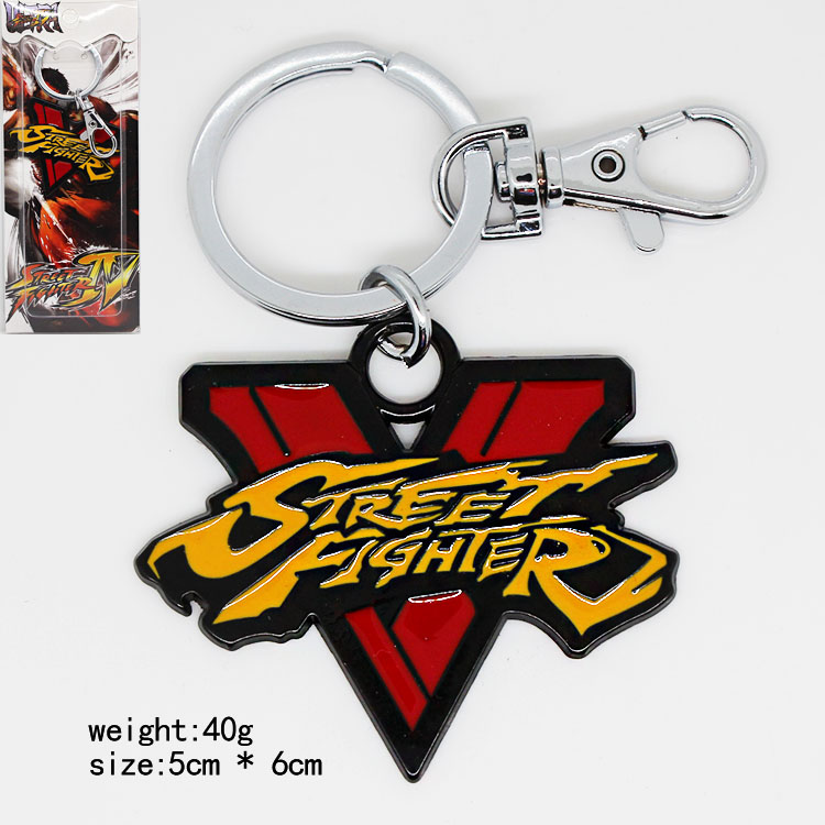 The Street Fighter 5 Logo Metal Keychain Pendant Key Chain Chaveiro Key Ring with retail box KT2083