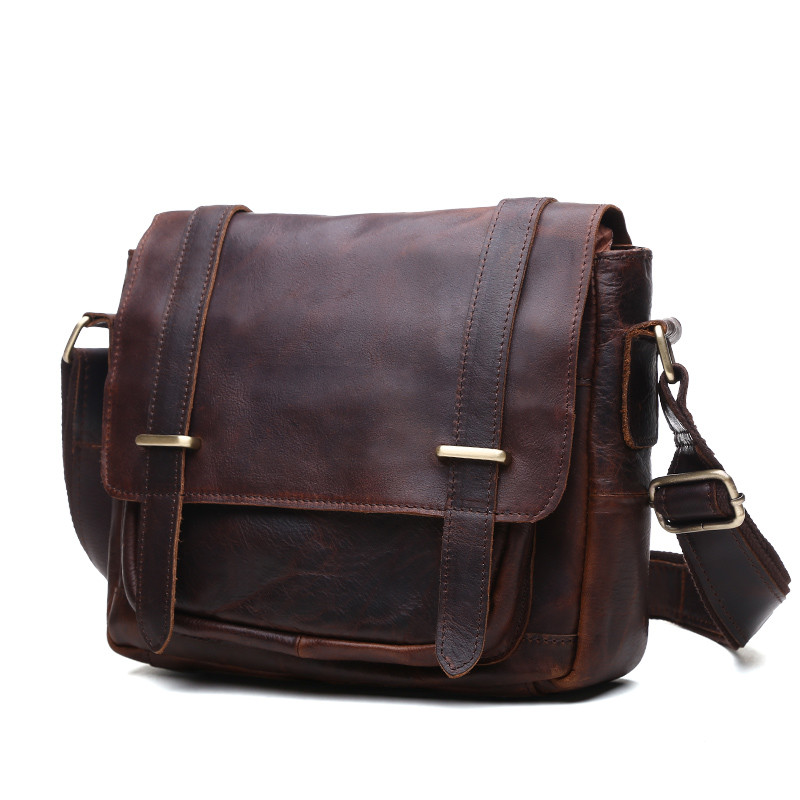 Nesitu Vintage Real Skin Genuine Leather Small Women / Men Messenger Bags Cowhide Man Bag #M350