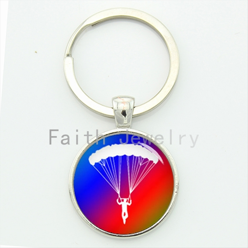 Charming bright colorful gift 2016 newest daring sports sky diving parachuting key chain go skydiving keychain hobby time KC600