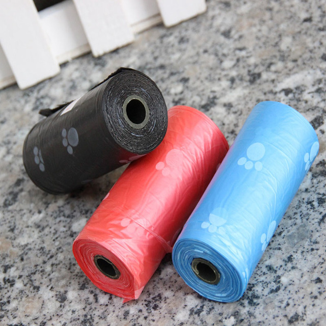 10 roll Degradable Pet Carrier Dog Poop Bag Printing Puppy Dog Waste Bag(10 roll=150pcs)