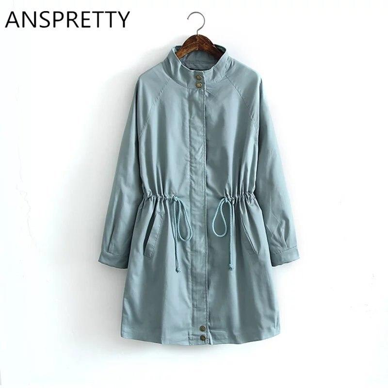 Anspretty Apparel 2016 Autumn Winter Women Long Trench Coat Raglan Sleeve Adjustable Waist Casual Windbreaker Korean