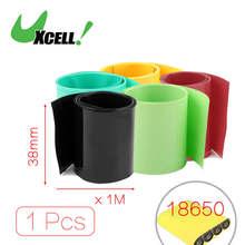 Uxcell 3.3Ft 66 Мм Плоским 38 Мм Диаметр Пвх Термоусадочная Трубка Желтый Для Батареи 18650.   черный   ясно   зеленый   серый   красный   белый  