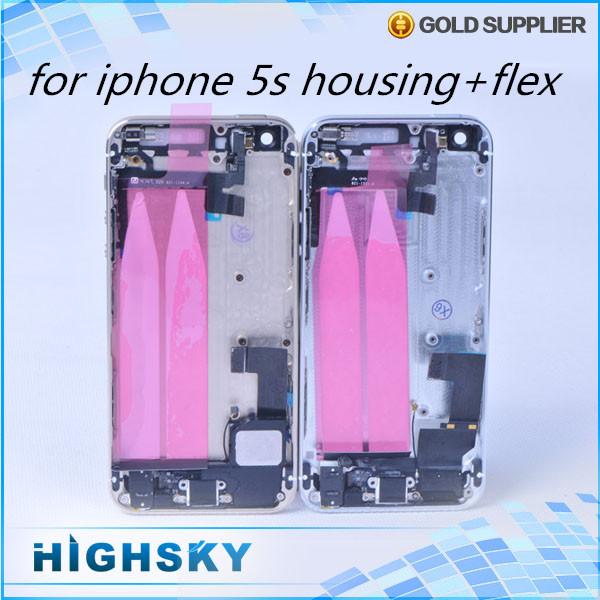 1 peça frete grátis substituição tampa traseira para o iphone 5s habitação caso porta traseira da bateria + cabos flex + teclas laterais + ferramentas