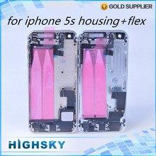 1 unidades el envío libre de reemplazo de la contraportada para el iphone 5s vivienda caja de puerta posterior de la batería + cables flex + teclas laterales + herramientas