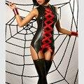Mulheres Sexy Teddy Bodysuit de Couro Preto De Látex Vermelho Fita Gótico Espartilho Escravidão Empregada Erótico Clubwear Fetiche Catsuit