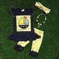 Verano de las muchachas muchachas del bebé del diseño boutique outifits Girls bien vestidos shorts de lentejuelas shorts trajes con accesorios