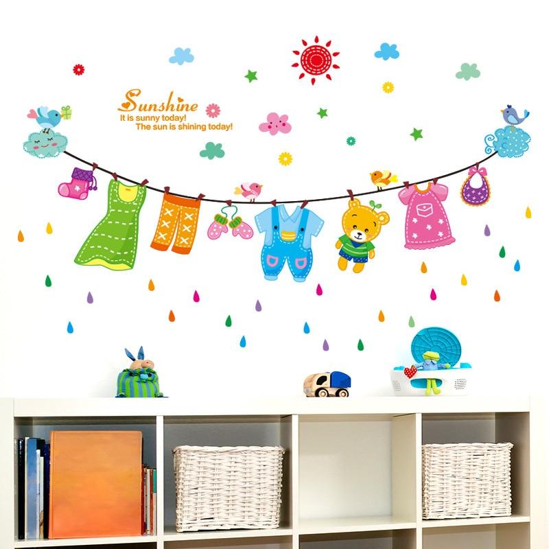 US $1.8 |Sonne Blau Wolke Vögel Wandtattoo Aufkleber Cartoon Wäscheleine  Kinder Baby Kinderzimmer Wand Decro Wandbild Sonnenschein Wand Zitat ...