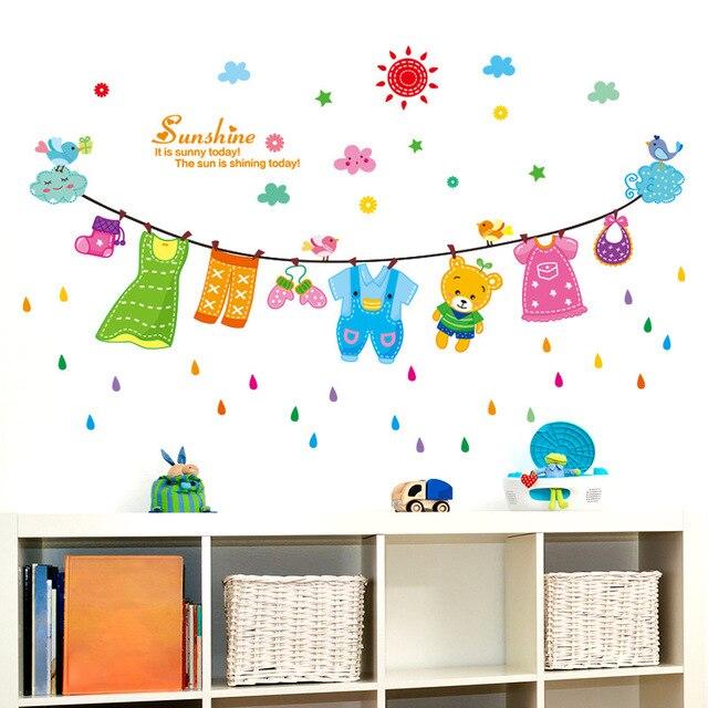 US $1.8 |Sonne Blau Wolke Vögel Wandtattoo Aufkleber Cartoon Wäscheleine  Kinder Baby Kinderzimmer Wand Decro Wandbild Sonnenschein Wand Zitat Poster  ...
