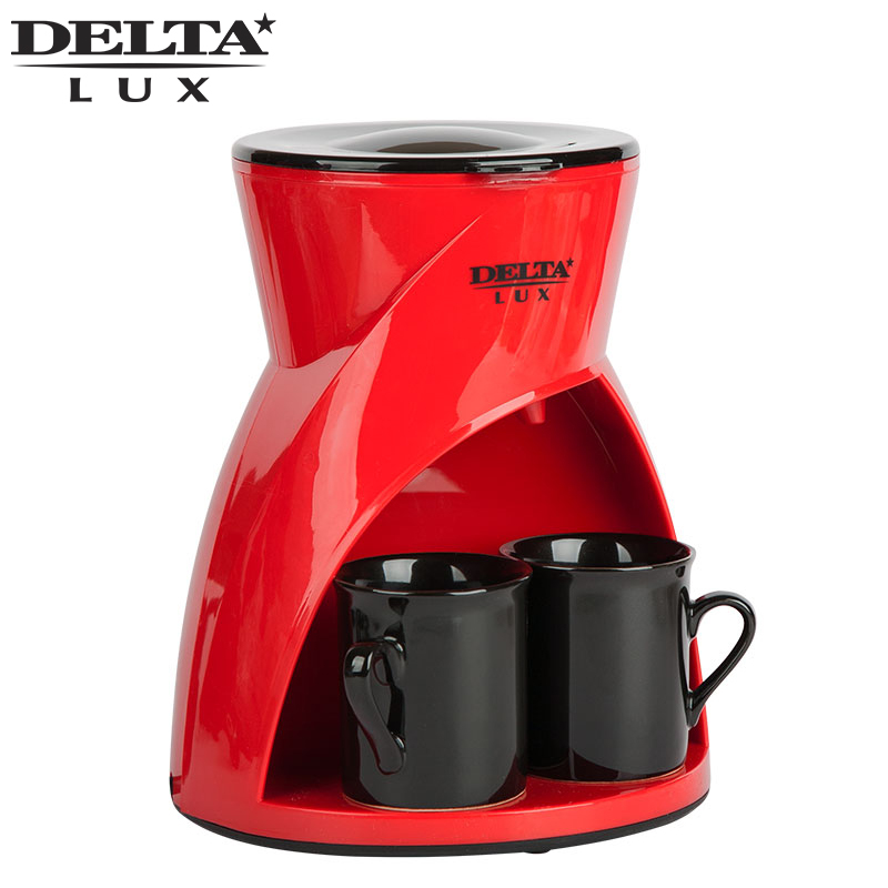 DL-8131 red Coffee maker machine drip, cafe household american plastic material, full automatic, work indicator, ceramic cup dmwd electric waffle maker muffin cake dorayaki breakfast baking machine household fried eggs sandwich toaster crepe grill eu us