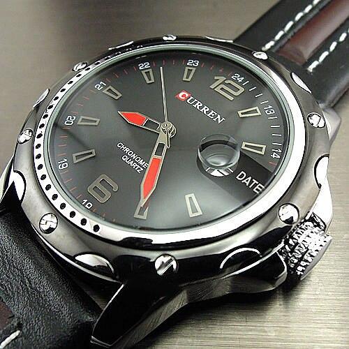 Dial Clock Hours Hand Date Black Brown Leather Men's Wrist Watch clock
